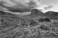 Storm clouds loom over El Capitan, Texas' 8th tallest peak (8,085 feet) and its most iconic in this black and white image. El Capitan, located in Guadalupe Mountains National Park near the Texas-New Mexico border, also holds the tallest point in Texas, Guadalupe Peak. This El Capitan picture was taken before sunrise on a trail that connects to the El Capitan Trail. At sunrise or sunset, the park is a nice place to enjoy the solitude.