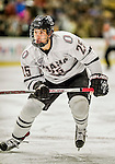 17 October 2015: University of Nebraska Omaha Maverick Forward Justin Parizek, a Junior from Lakeville, MN, in first period action against the University of Vermont Catamounts at Gutterson Fieldhouse in Burlington, Vermont. The Mavericks defeated the Catamounts 3-1 in the second game of their weekend series. Mandatory Credit: Ed Wolfstein Photo *** RAW (NEF) Image File Available ***