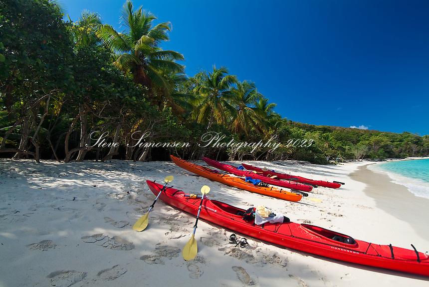 Kayaks on Honeymoon Beach.St. John, US Virgin Islands