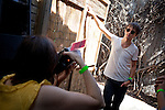 Sondre Lerche poses for a photographer after his set at the Flamingo Cantina in Austin, Texas during the 2011 SXSW Music Festival.