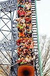 Kimono-clad 20-year-old Japanese women scream with delight as they take a roller coaster ride following a ceremony to celebrate Coming-of-Age Day at Toshimaen amusement park in Tokyo, Japan on 14 January 2008. While Japanese women can marry as early as 16 years of age and men at 18, neither is considered to reach adulthood until they reach 20, when they can also legally begin to smoke, drink and vote.Kimono-clad 20-year-old Japanese women enjoy a ride on a roller-coaster during an event to mark Coming-of-Age Day at an amusement park in Tokyo, Japan on Monday Jan. 11, 2009. Japanese enter adulthood at 20, when they can legally smoke, drink alcohol and vote, though debate is heating up as to whether or not the age should be lowered to 18 in line with many advanced countries. Indeed, the Japanese government plans to lower the voting age to 18 as of mid-2010.   .Photographer: Robert GilhoolyCOMING OF AGE