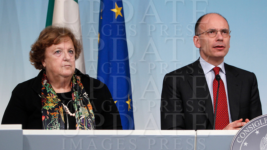 Il Ministro della Giustizia Anna Maria Cancellieri ed il Presidente del Consiglio Enrico Letta durante una conferenza stampa al termine del Consiglio dei Ministri a Palazzo Chigi, Roma, 17 dicembre 2013.<br /> Italian Justice Minister Anna Maria Cancellieri and Premier Enrico Letta, right, during a press conference following a cabinet meeting at Chigi Palace, Rome, 17 December 2013.<br /> UPDATE IMAGES PRESS/Isabella Bonotto