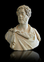 Roman Portrait bust of Roman Emperor Commodus, circa 180 AD excavated from Albano Laziale. Roman Emperor from 180 to 192 AD. Commodus also ruled as co-emperor with his father Marcus Aurelius from 177 until his father's death in 180 AD.. The National Roman Museum, Rome, Italy