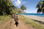 Hawaii: Molokai, the Mule Ride from the cliff tops down 1,600 feet to the leper colony at Kalaupapa..Photo himolo150-72232.Photo copyright Lee Foster, www.fostertravel.com, lee@fostertravel.com, 510-549-2202