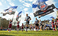 Henry Thomas and the rest of the Bath Rugby team run out onto the field. Aviva Premiership match, between Bath Rugby and London Irish on March 5, 2016 at the Recreation Ground in Bath, England. Photo by: Patrick Khachfe / Onside Images
