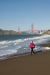 San Francisco: Baker Beach with Golden Gate Bridge in background.  Photo # 2-casanf76414.  Photo copyright Lee Foster