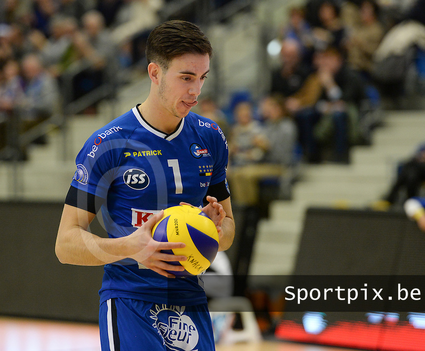 20161228 - ROESELARE ,  BELGIUM : Roeselare's Angel Trinidad pictured during the second semi final in the Belgian Volley Cup between Knack Volley Roeselare and Lindemans Aalst in Roeselare , Belgium , Wednesday 28 th December 2016 . PHOTO SPORTPIX.BE | DAVID CATRY