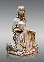 Gothic marble statue of Mary Magdelane (Magdelena) by Mestre de Pedralbes of Barcelona, 2nd half of 14th Century, from the cemetery of the cathedral of Barcelona.  National Museum of Catalan Art, Barcelona, Spain, inv no: MNAC  9797.