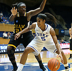 30 October 2012: Duke's Sierra Moore (5) is defended by Shaw's Jade Stokes (21). The Duke University Blue Devils played the Shaw University Lady Bears at Cameron Indoor Stadium in Durham, North Carolina in women's college basketball exhibition game. Duke won the game 138-32.