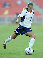 17 August 2004:   Heather Mitts in action against Australia  at Kaftanzoglio Stadium in Thessaloniki, Greece.     USA tied Australia at 1-1.   Credit: Michael Pimentel / ISI