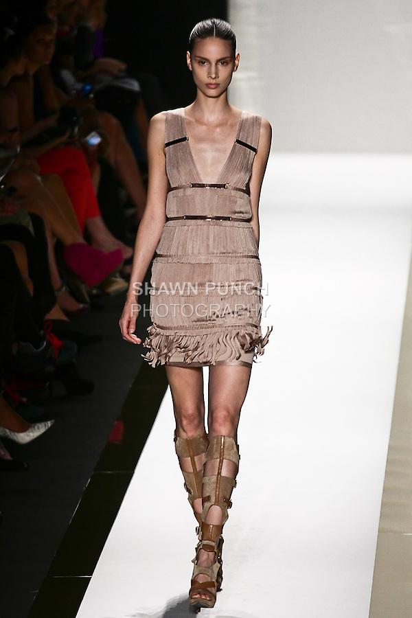 Brenda walks the runway in a nude bandage fringe dress, and toffee gladiator boot, by Max Azria for the Herve Leger by Max Azria Spring 2012 fashion show, during Mercedes-Benz Fashion Week Spring 2012.