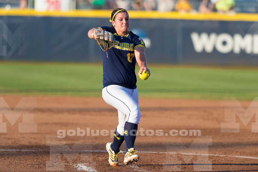 The University of Michigan women's softball team;4-1 loss to University of Florida in Game 3,finishing National Runner-up in the Championship series in the Women's College World Series held at the ASA Hall of Fame Stadium in Oklahoma City,Okla. on 6/03/15.