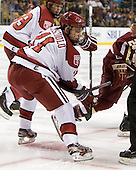 Kyle Criscuolo (Harvard - 11) - The Boston College Eagles defeated the Harvard University Crimson 4-1 in the opening round of the 2013 Beanpot tournament on Monday, February 4, 2013, at TD Garden in Boston, Massachusetts.