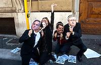 Roma 4 Novembre 2010.Flash mob  degli studenti universitari contro i tagli all'università e alla ricerca davanti al Ministero dell'Economia e delle Finanze (MEF),i studenti con le maschere del ministro Brunetta  del ministro Gelmini, del ministro Sacconi e del ministro Tremonti.Rome, 4 November 2010.Flash mob of university students against the cuts to university and research outside the Ministry of Economy and Finance (MEF), the students with the masks of the Minister Brunetta, the minister Gelmini, the minister Sacconi, the minister Tremonti