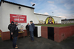 Prescot Cables 2 Brighouse Town 1, 13/02/2016. Hope Street, Northern Premier League. Club officials and programme sellers waiting for spectators before Prescot Cables played Brighouse Town in a Northern Premier League division one north fixture at Valerie Park. Founded in 1884, the 'Cables' in their name came from the largest local employer, British Insulated Cables and they have played in their current ground, also known as Hope Street, since 1906. Prescott won the match 2-1 watched by a crowd of 189. Photo by Colin McPherson.