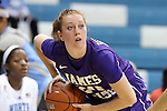 02 January 2014: JMU's Kirby Burkholder. The University of North Carolina Tar Heels played the James Madison University Dukes in an NCAA Division I women's basketball game at Carmichael Arena in Chapel Hill, North Carolina.