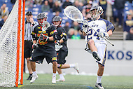 Annapolis, MD - February 11, 2017: Navy Midshipmen Ryan Kern (24) could not stop the goal during game between Maryland vs Navy at  Navy-Marine Corps Memorial Stadium in Annapolis, MD.   (Photo by Elliott Brown/Media Images International)