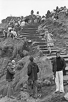 Spectators on the cliffs of on the infamous Bells steps  during the  running of the 1976 Rip Curl Pro, Bells Beach, Torquay, Victoria, Australia. Easter 1976.Photo:  joiliphotos.com
