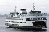 July 22, 2008:   The Wenatchee Washington State Ferry heading from Bainbridge Island makes it's way towards the Seattle terminal in Seattle, Washington.