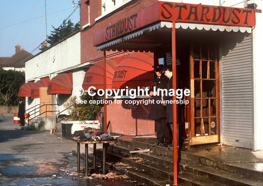 Stardust Fire Tragedy, Stardust Nightclub, Artane, Dublin, Ireland, early hours, 14th February 1981, Valentine's Day, in which 48 died and 214 were injured -  police surround the ill-fated premises to prevent unauthorized access.  198102140006..Copyright Image from Victor Patterson, 54 Dorchester Park, Belfast, United Kingdom, UK...For my Terms and Conditions of Use go to http://www.victorpatterson.com/Victor_Patterson/Terms_%26_Conditions.html