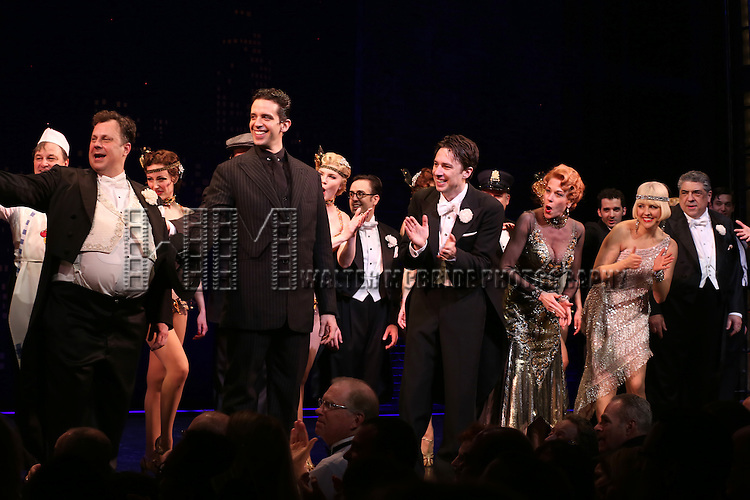 """Brooks Ashmanskas, Nick Cordero, Zach Braff, Marin Mazzie, Helene Yorke and Vincent Pastore during the Broadway Opening Night Performance Curtain Call for ''Bullets Over Broadway'""""at the St. James Theatre on April 10, 2014 in New York City."""