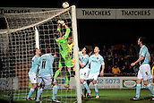 15.01.2013. Torquay, England. Exeter's Artur Krysiak saves on the line during the League Two game between Torquay United and Exeter City from Plainmoor.