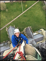 BNPS.co.uk (01202 558833)<br /> Pic: GaryPrice/BNPS<br /> <br /> Don't look down... Ecclesiastical carpenter Richard Pike heads up the spire.<br /> <br /> How many men does it take to change a lightbulb... at the top of Britain's tallest spire.<br /> <br /> When your office is Salisbury Cathedral the simple task of changing a light bulb involves four men, a 404ft climb and takes three hours.<br /> <br /> Ecclesiastical carpenter Richard Pike needed a head for heights when he joined Gary Price, who is in charge of conservation, to make the daring ascent with two rope specialists to ensure their safety. <br /> <br /> Despite working at the cathedral for 27 years, it was the first time Richard has ever made the hair-raising climb.