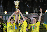 FUSSBALL      DFB POKAL FINALE       SAISON 2011/2012 Borussia Dortmund - FC Bayern Muenchen   12.05.2012 Ilkay Guendogan, Shinji Kagawa und Robert Lewandowski (v.l., alle Borussia Dortmund) jubeln mit dem Pokal