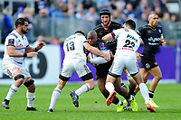 Beno Obano of Bath Rugby takes on the Brive defence. European Rugby Challenge Cup Quarter Final, between Bath Rugby and CA Brive on April 1, 2017 at the Recreation Ground in Bath, England. Photo by: Patrick Khachfe / Onside Images