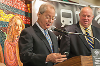MTA Interim Executive Director Thomas F. Prendergast, right, and and Acting MTA Chairman Fernando Ferrer, left, in the Times Square station in the New York subway line on Thursday, April 25, 2013 explaining that commuters can now use their cellular phones. Wireless and data communication capability is now available in additional stations besides the original six that were rolled out two years ago. Travelers will be able to use their AT&T, Verizon and T-Mobile phones along the IND line from West 14th Street to West 96 Street as well as the IRT and the BMT in other stations along the west side. In addition to cellular service wi-fi is also available.  (© Richard B. Levine)