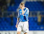 St Johnstone v Motherwell...03.11.12      SPL.Stephen Anderson hold his head at full time.Picture by Graeme Hart..Copyright Perthshire Picture Agency.Tel: 01738 623350  Mobile: 07990 594431