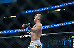 Junior Dos Santos reacts winning his World Heavyweight Championship match against Cain Velasquez during Saturday's UFC on Fox.