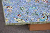 Paisley Vine table top in glass Peridot, Quartz, Turquoise, Peacock Topaz, Tiger's Eye, Chalcedony, Garnet, Citrine, Aventurine, Tanzanite, Amber