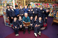 """*** NO FEE PIC***.01/03/2012.Pictured is Irish Author Brendan O' Brien with third class children from Holy Cross National School Dundrum, Dublin at a free reading event of his book """" The Story of Ireland"""" in Eason Dundrum to celebrate the 15th annual World Book Day. To celebrate World Book Day Eason, Ireland's leading retailerof books, stationery, magazines & More have teamed up with some of Ireland'sleading children's writers to deliver a series of events in key stores to mark World Book Day..Photo: Gareth Chaney Collins"""