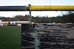 Alvechurch FC 3 Highgate United 0, 26/12/2016. Lye Meadow, Midland Football League Premier Division. Peeling paint on an advertising sign at Lye Meadow before Alvechurch hosted Highgate United in a Midland Football League premier division match. Originally founded in 1929 and reformed in 1996 after going bust, the club has plans to move from their current historic ground to a new purpose-built stadium in time for the 2017-18 season. Alvechurch won this particular match by 3-0, watched by 178 spectators, taking them back to the top of the league. Photo by Colin McPherson.