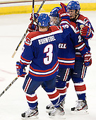 Chad Ruhwedel (UML - 3), Derek Arnold (UML - 29), Josh Holmstrom (UML - 12) - The Boston College Eagles defeated the visiting University of Massachusetts Lowell River Hawks 6-3 on Sunday, October 28, 2012, at Kelley Rink in Conte Forum in Chestnut Hill, Massachusetts.
