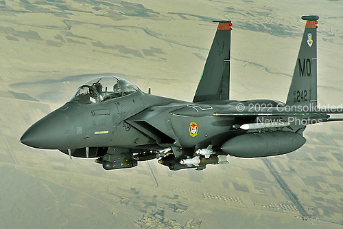 Over Afghanistan - November 8, 2008 -- An F-15E Strike Eagle conducts a mission over Afghanistan on Tuesday, October 7, 2008. The F-15E Strike Eagle is a dual-role fighter designed to perform air-to-air and air-to-ground missions. An array of avionics and electronics systems gives the F-15E the capability to fight at low altitude, day or night, and in all weather. .Credit: Aaron Allmon - USAF via CNP