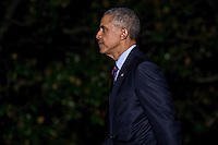 United States President Barack Obama walks on the South Lawn towards the White House after arriving on Marine One in Washington, D.C., U.S., on Tuesday, October 25, 2016. President Obama is returning from a campaign and fundraising trip to California. <br /> Credit: Andrew Harrer / Pool via CNP /MediaPunch
