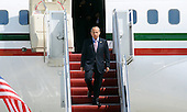 Mexican President Felipe Calderon Hinojosa arrives with his delegation April 12, 2010 at Andrews Air Force Base in Maryland. Leaders from around the world including nuclear powers are meeting in Washington this week for a two-day nuclear security summit. .Credit: Olivier Douliery / Pool via CNP