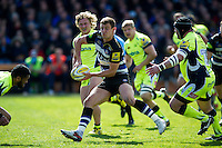 Ollie Devoto of Bath Rugby looks to pass the ball. Aviva Premiership match, between Bath Rugby and Sale Sharks on April 23, 2016 at the Recreation Ground in Bath, England. Photo by: Patrick Khachfe / Onside Images