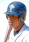 30 June 2007: Vermont Lake Monsters outfielder  Jorge De la Cruz awaits his turn in the batting cage prior to a game against the Lowell Spinners at Historic Centennial Field in Burlington, Vermont. The Spinners defeated the Lake Monsters 8-4 in the last game of their 3-game, NY Penn-League series...Mandatory Photo Credit: Ed Wolfstein Photo