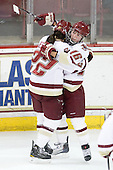 Mary Restuccia (BC - 22), Kelli Stack (BC - 16) - The Boston College Eagles defeated the Boston University Terriers 2-1 in the opening round of the Beanpot on Tuesday, February 8, 2011, at Conte Forum in Chestnut Hill, Massachusetts.