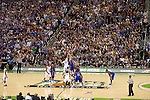 31 MAR 2012:  Anthony Davis (23) of the University of Kentucky tips off against Jeff Withey (5) the University of Kansas in the championship game of the 2012 NCAA Men's Division I Basketball Championship Final Four held at the Mercedes-Benz Superdome hosted by Tulane University in New Orleans, LA. Kentucky defeated Kansas 67-59 to win the national title. Brett Wilhelm/NCAA Photos