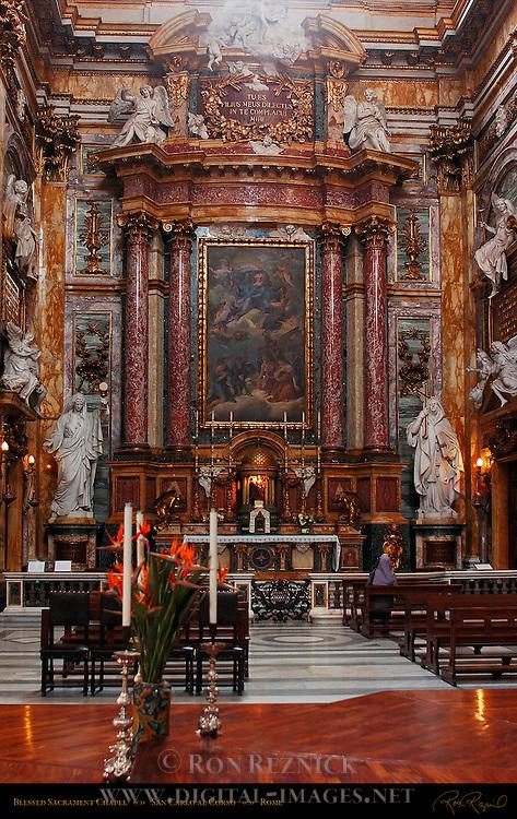 Blessed Sacrament Chapel Left Nave Altarpiece God the Father with Angels in Prayer 1632 Tommaso Donini Tommaso Luini il Caravaggino San Carlo al Corso Rome