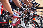 Cyclist get ready to start their race at the Foothill College Circuit Race July 14.