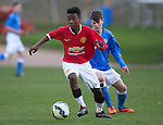 St Johnstone Academy v Manchester United Academy....17.04.15   <br /> Angel Gomes and Paul Simpson<br /> Picture by Graeme Hart.<br /> Copyright Perthshire Picture Agency<br /> Tel: 01738 623350  Mobile: 07990 594431
