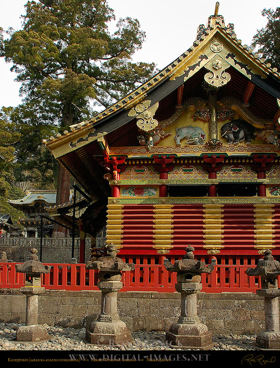 Kamijinko Azekura-zukuri Log Cabin style Storehouse Imaginary Elephants Tanyu School Mitsuda-e Nikko Toshogu Shrine Nikko Japan