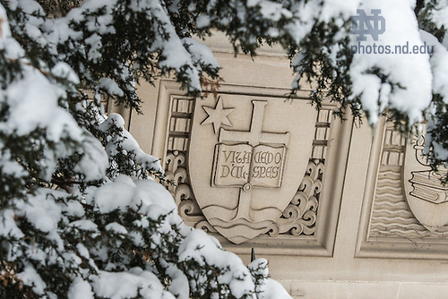 Feb. 2, 2015; O'Shaughnessy Hall detail after a snowfall.  (Photo by Matt Cashore/University of Notre Dame)