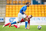 St Johnstone v York City...19.07.14  <br /> Mark Millar gets away from Ryan Jarvis<br /> Picture by Graeme Hart.<br /> Copyright Perthshire Picture Agency<br /> Tel: 01738 623350  Mobile: 07990 594431