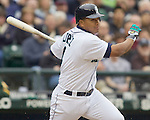 Seattle Mariners Jose Lopez bats against the Oakland Athletics in the opening home game of the season  at SAFECO Field in Seattle April 12, 2010. The Athletics beat the Mariners 4-0. Jim Bryant Photo. &copy;2010. ALL RIGHTS RESERVED.